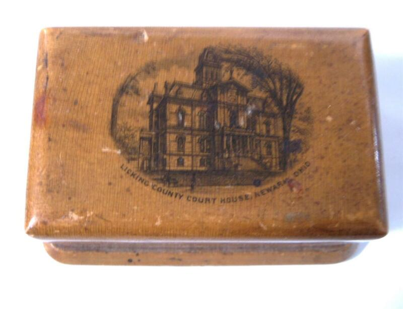 Antique Small Wood Box Licking County Courthouse Newark Ohio Victorian