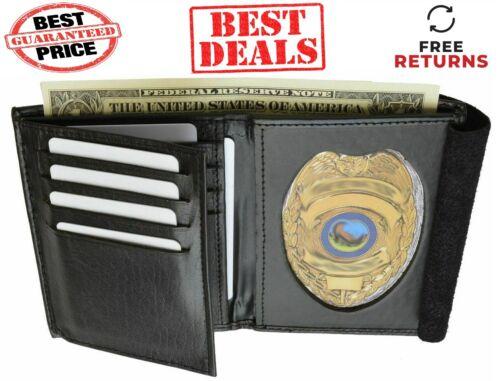 RIFD Leather Badge Holder BI FOLD WALLET SWAT Police Sheriff Officer CONCEALED