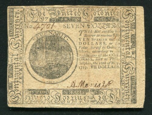 CC-7 MAY 10, 1775 $7 SEVEN DOLLARS CONTINENTAL CURRENCY NOTE