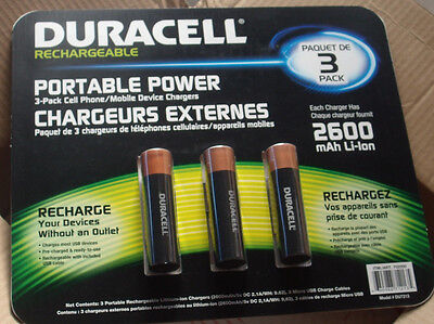 Duracell Portable Power 3-Pack Cell Phone / Mobile Device Chargers Duracell Portable Power