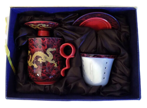 BEAUTIFUL RED WITH GOLD DRAGON 4 PIECE TEACUP SET HAND PAINTED CHINA NIB