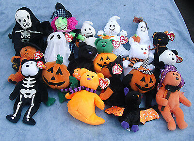 W-F-L Ty Beanie Halloween Stuffed Toy Selection Mind Vampire Pumpkin Spider Cat (Spider Drawings Halloween)
