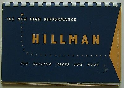 Hillman Minx Original UK confidential Salesmans Book No 320.104/3/H 1954 Mk VIII