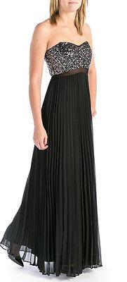 AQUA ~Black Chiffon Sequins Strapless Sweetheart Cut-Out Formal Gown 6 NEW $288 Black Chiffon Sweetheart Beading