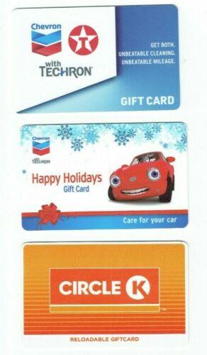 Gas Gift Card LOT of 3 - Chevron, Texaco - Gasoline Fuel - Collectible -No Value