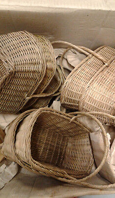 lot case wholesale ~ 28 RATTAN BASKETS ~ with handle GREAT GIFT BASKET & DISPLAY