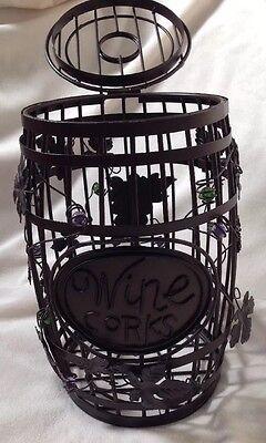 Wine Bottle Cork Holder Cage Barrel Metal Decor Home Or Bar