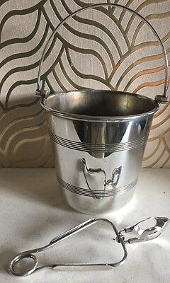 Stylish Chester Ep Co Silverplated Ice Bucket & Tongs