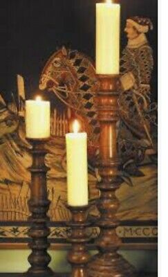 Solid Oak Turned Candlesticks with Metal spike Small 30cm