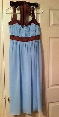 After Six Bridal Bridesmaid Dress (NEW Women's  FORMAL TEA LENGTH   DRESS SIZE 8 HALTER BLUE After 6 WEDDING)