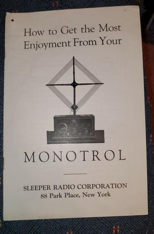 MONOTROL   -- SLEEPER RADIO MANUAL & GUIDE