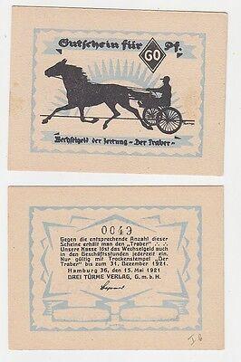 """60 Pfennig Notgeld Gutschein Hamburg Zeitung """"Der Traber"""" 1921 (116150)"""