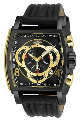 Invicta S1 Rally 27943 Men's Black/Gold-Tone Genuine Leather Chronograph Watch ()