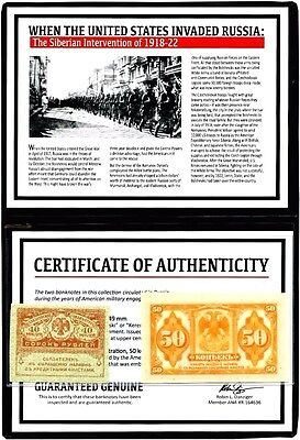 Siberian Intervention of 1918-22 Set of Two Banknotes,Story,Certificate & Album