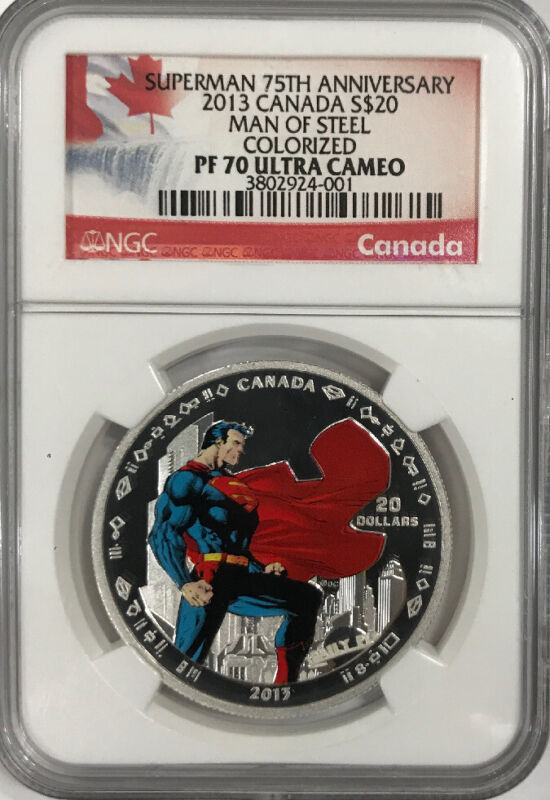 2013 Canada $20 Man of Steel 75th Anniversary Superman Silver NGC PF70 Proof