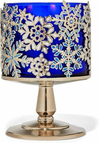 Bath Body Works 3 Wick Candle Sleeve Holder Jeweled Snowflake Pedestal Silver