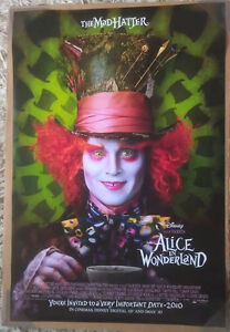 ALICE IN WONDERLAND MOVIE POSTER 2 Sided ORIGINAL MAD HATTER 27x40