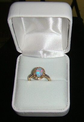 14K Yellow Gold with Natural Opal Stone and Diamond Ring Size 5