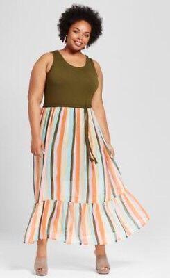 (AVA VIV Multicolor Stripe Rainbow Maxi Dress Braid Tie Belt Womens Plus Size 3X )