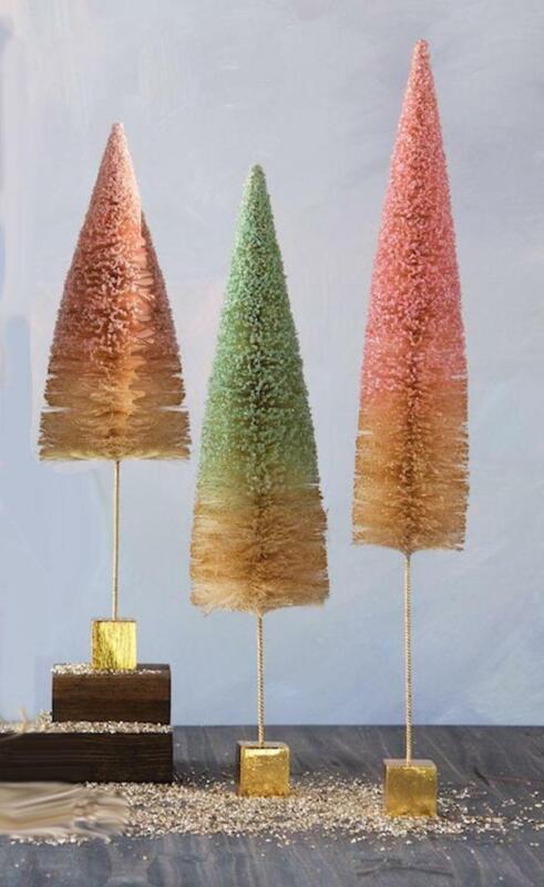"Glitterville Pastel Color Glitter Sisal Christmas Tree Set Lg Sz, 16"", 19"", 21"""