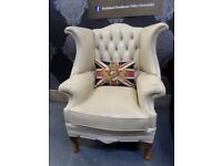 Stunning Chesterfield Dellbrook Queen Anne Wing Back Chair in Cream Leather - Uk Delivery