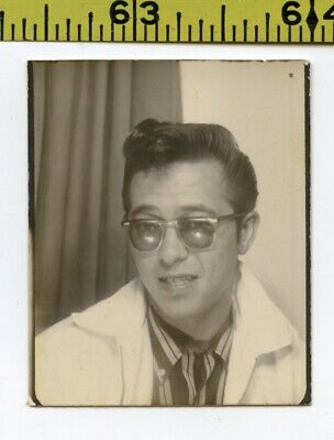 Vintage 1957 PHOTOBOOTH photo / Rockabilly Wannabe Guy in Shades Is Not Too Cool