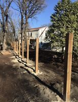FENCE POST DRILLING AND SETTING