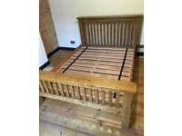 Beautiful dark solid oak double size bed frame, excellent condition