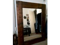 Large real wood mirror brown reclaimed rustic frame beautifully made