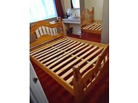 Solid pine double bed frame+delivery available