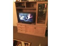 SOLID PINE TV DISPLAY CABINET - UNIT MIRROR STORAGE - *excellent condition*