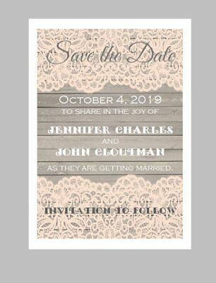 Save The Date Cards Wedding (50 Personalized Custom Coral Lace Wooden Vintage Wedding Save The Date Cards)