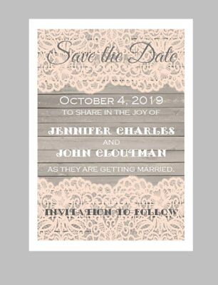 50 Personalized Custom Coral Lace Wooden Vintage Wedding Save The Date Cards - Custom Save The Date