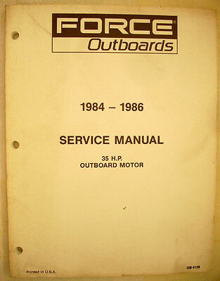 1984 thru 1986 Force 35hp Outboards Factory Service Manual - NICE!