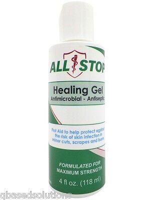 Antiseptic Healing Skin Gel First Aid,Bug Bites,Cuts,Scrapes,Burns-4oz-AllStop (First Aid Gel)