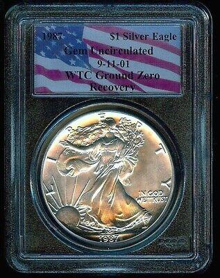 1987 American 1oz .999 Silver Eagle WTC 9/11/01 Ground Zero Recovery PCGS GEM