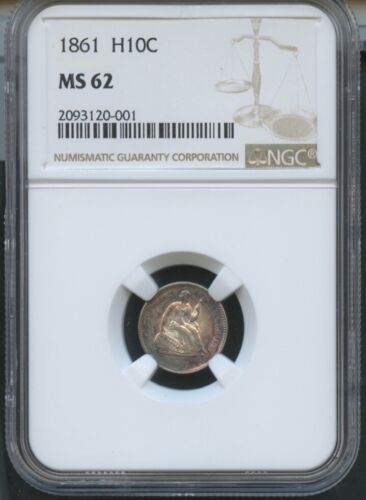 1861 Seated Half Dime NGC MS62 Brown Label