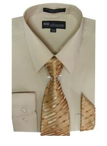 Men's Dress Shirt with Tie and Handkerchief 25 different colors