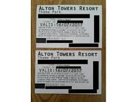 2 x Sunday 16/7/2017 Alton towers tickets