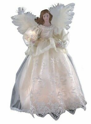 Victorian Style Ivory Lace Angel Light Up Christmas Tree Topper UL2138 New
