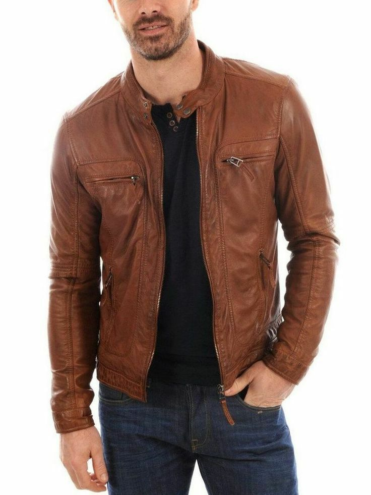 Men/'s BRANDO SLIM FIT Brown New Biker Style Motorcycle Lambskin Leather Jacket