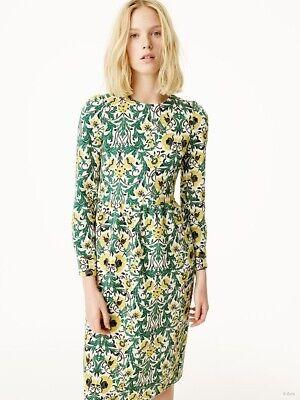 Zara Woman Yellow Green Tapestry Floral Midi Dress Size XS Long Sleeve Boho