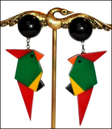 EXQUISITE FRENCH DESIGNER MULTI COLOR RESIN CLIP ON DANGLING PARROT EARRINGS