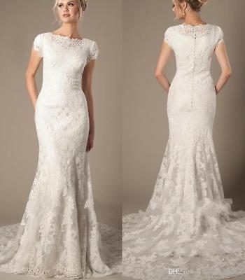 Modest Lace (Modest Applique Lace Short Sleeve Wedding Dress Mermaid Bridal Gown Size 4 6 8++ )