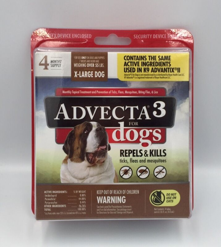 (New) Advecta 3 for X-Large Dogs 55 lbs, 4 Month Supply