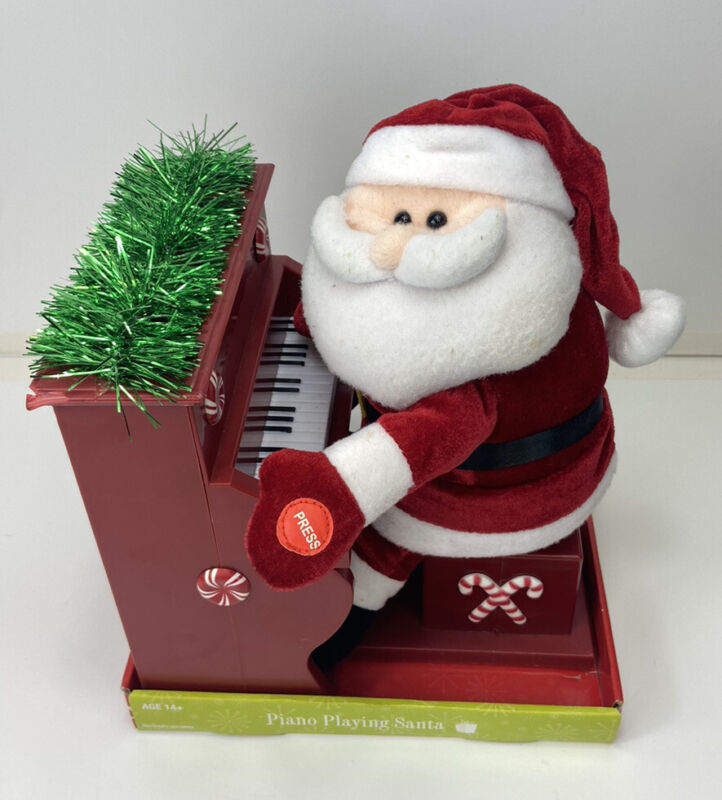 Christmas Santa Claus Playing Piano Singing Musical Lighted Animated Home Accent