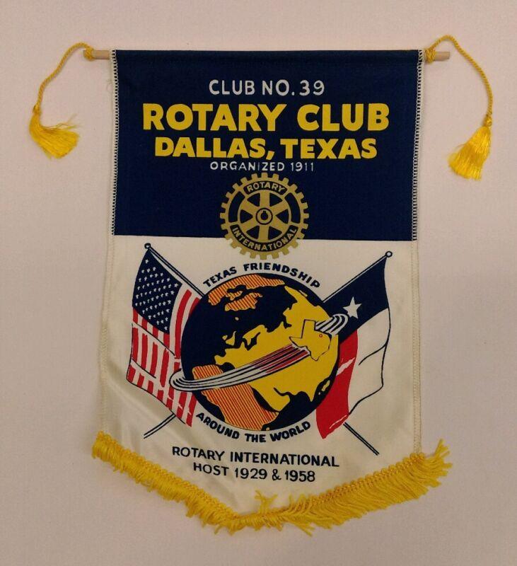 Vtg. DALLAS TEXAS Rotary International Club banner flag RARE!