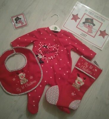 NEW My First Christmas Embroidered Baby Gift Set Bib Sleepsuit Placemat Stocking ()