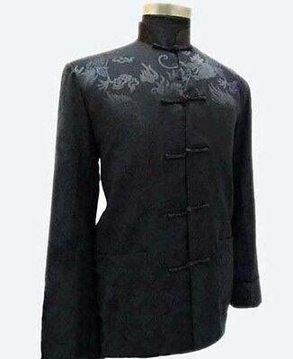 Traditional Chinese Men's Dragon Silk Coat jacket stage Clothing Party Tops BLAC Chinese Silk Coat Jacket