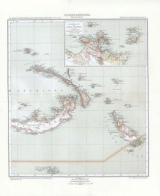 Deutsch Neuguinea - Östliches Blatt Gazelle Halbinsel Salomonen Kolonialatlas 12